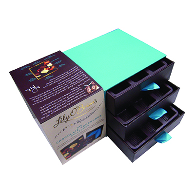Custom made rigid paper packaging boxes for chocolates brand: Lily|