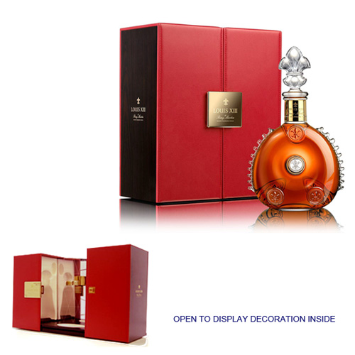 luxe custom made leather wine packaging gift boxes for Louis XIII