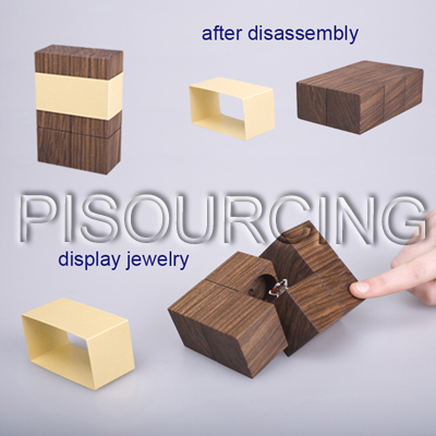 Unique engraved wooden girls ring jewelry box
